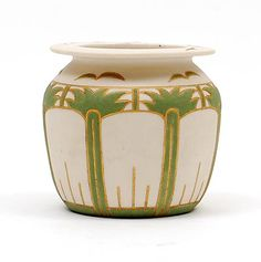 Bisquit-porcelain vase with deepened gold inlaid lines and with green porcelain-silt filled fields design Adolf le Comte executed by the Porceleyne Fles Delft / the Netherlands 1902