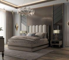Bed Headboard Design, Modern Bedroom Design, Home Room Design, Master Bedroom Design, Headboards For Beds, Modern Interior Design, Bedroom False Ceiling Design, Master Bedroom Interior, Modern Master Bedroom