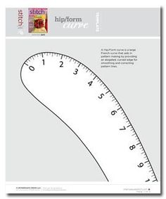 Free download for a Hip/Form curve is a large French curve that aids in pattern making by providing an elogated, curved edge for smoothing and correcting pattern lines.