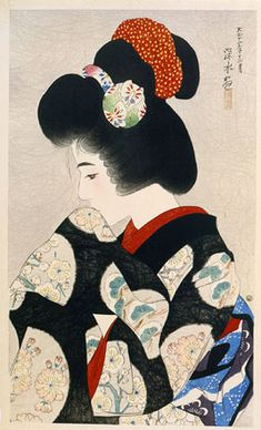 Contemplating the Coming Spring , from twelve images of Modern Beauties , 1923 , by Ito Shinsui