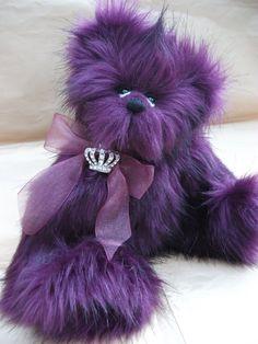 Royal Purple Plush Ooak Collectable Bear Zak by Bedlan Bears.  Black-Diamond-666 Artisan Crafts, Dolls, Plushies & Custom Toys - Original Artist Dolls  ©2013-2014