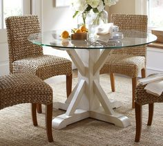 Ava Glass-Top Fixed Pedestal Dining Table, diam., White - traditional - dining tables - Pottery Barn Table NOT chairs Glass Round Dining Table, Pedestal Dining Table, Glass Table, Dining Room Table, Kitchen Tables, Dining Area, Kitchen Dining, Pottery Barn Table, Pottery Barn Kitchen