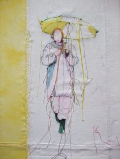 Textile art / thread painting, woman with umbrella in yellow Art Fibres Textiles, Textile Fiber Art, Textile Artists, Free Motion Embroidery, Free Machine Embroidery, Embroidery Art, Thread Art, Thread Painting, Art Fil
