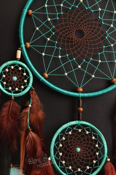 Sizes: D19cm; 8cm; 5cm; (inches: 7,5; 3,1; 2; ) The length 61cm (inches: 24) Materials used: Cotton yarn, satin ribbon, feathers, goose feathers, feathers rooster, wooden beads, glass beads. This Dreamcatcher will be made to order Each work is individual and is handmade. To