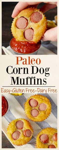 Paleo Corn Dog Muffins- easy, healthy, and so delicious!! Gluten free, dairy free, grain free.