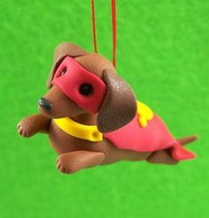 by cora Clay Super Doxie Dachshund Fimo Clay, Polymer Clay Projects, Polymer Clay Creations, Dachshund Rescue, Mini Dachshund, Fondant Animals, Clay Animals, Clay Cats, Weenie Dogs