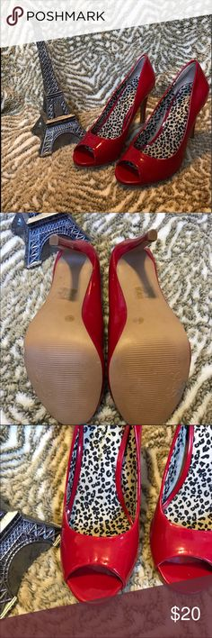 Red Peep Toe Jessica Simpson Heels Very cute shiny red heels. Show some signs of wear (pictured). Open to most offers! Bundle for a private discount. Jessica Simpson Shoes Heels