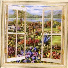 Trompe L'oeil Murals | Trompe L'oeil Garden Window Mural 7084247M