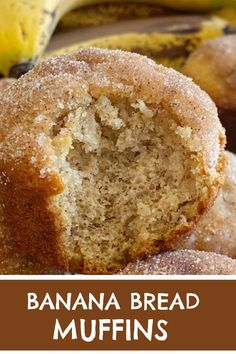 Banana Muffins taste like banana bread with a sweet cinnamon & butter topping. All you need is one bowl. No mixer needed! Cinnamon Banana Bread, Banana Bread Muffins, Banana Bread Recipes, Cinnamon Butter, Cinnamon Muffins, Recipe For Bananna Muffins, Banana Recipes No Bake, No Butter Banana Bread, Sweet Banana Bread Recipe