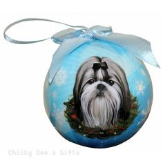 E & S Pets  Shih Tzu, Black and White   Shatter Proof Christmas Ball Ornament