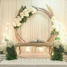 Pelamin Spiral Tunang or Akad Nikah - Diy Event Wedding Stage Decorations, Wedding Backdrop Design, Wedding Stage Design, Wedding Reception Backdrop, Engagement Decorations, Backdrop Decorations, Wedding Centerpieces, Wedding Designs, Backdrop Ideas