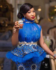 Actress Tonto Dikeh looks stunning in these Owambe attires (Photos) African Fashion Ankara, Latest African Fashion Dresses, African Print Fashion, African Blouses, African Lace Dresses, African Shirts, African Attire, African Wear, African Style