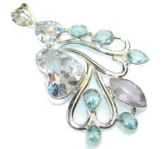 $76.85 Misty Morning!! White Topaz Sterling Silver Pendant at www.SilverRushStyle.com #pendant #handmade #jewelry #silver #topaz