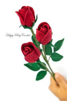 Easy Crochet Rose PATTERN Crochet Flower di HappyPattyCrochet