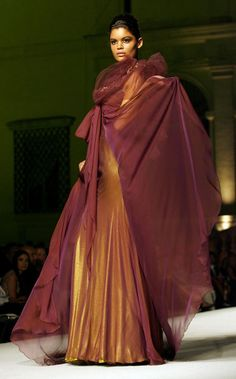 Model wearing Aded Mahfouz Haute Couture creation from the Autumn/Winter 2008 collection at the Rome Fashion Week.