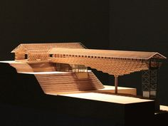 While pursuing a design that accumulates laminated timber of small cross section,we adopted a forgotten framing formula called Yusuhara Wooden Bridge Museum Public Architecture, Japan Architecture, Chinese Architecture, Architecture Drawings, Architecture Design, Bridges Architecture, Architecture Models, School Architecture, Bridge Model