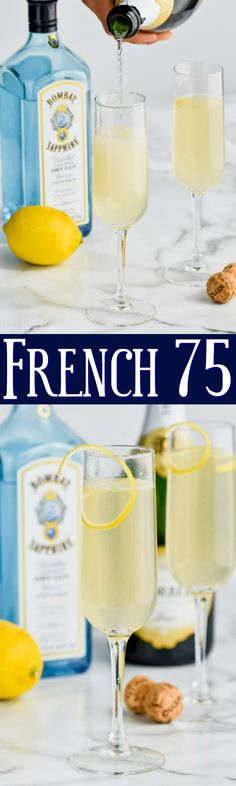 This French 75 with it's easy to find ingredients, is the delicious gin and champagne cocktail you are looking for! Champagne Drinks, Vodka Cocktails, Easy Cocktails, Cocktail Drinks, Cocktail Ideas, Holiday Cocktails, Party Drinks, Easy Alcoholic Drinks, Drinks Alcohol Recipes