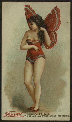 "Free vintage image of ""Finest"" butterfly girl in red"
