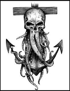 Davy Jones Skull and Anchor Print – octopus tattoo Marine Tattoos, Navy Tattoos, Leg Tattoos, Body Art Tattoos, Tattoos For Guys, Sleeve Tattoos, Octopus Tattoo Design, Octopus Tattoos, Tattoo Design Drawings