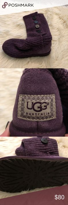 Ugg Sweater boots Button up or fold over sweater knit Uggs. Barely worn, kept in box. Color is Blackberry Wine, hard to find!! Super cute and fun color! UGG Shoes Lace Up Boots