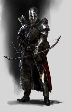 m Fighter Plate Armor Helm Cloak Longbow Sword - Fantasy - Armadura Medieval, Medieval Archer, Medieval Fantasy, Fantasy Armor, Dark Fantasy, Fantasy Fighter, Dnd Characters, Fantasy Characters, Fantasy Character Design