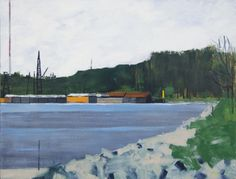 """Mac Ball, Mississippi River Barges, oil on canvas, 18x24""""; 2012"""