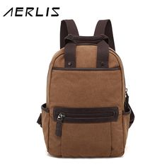 (47.51$)  Buy here - http://aigdx.worlditems.win/all/product.php?id=32790157406 - AERLIS Fashion Men Canvas Backpack Casual School Bag Travel 14 inch Laptop Back Pack Backbags 2016 New Free Shipping