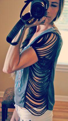 Trash To Couture: DIY Fringe Seam Tee.