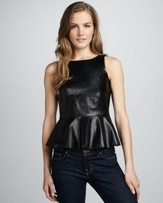 Summer Leathers for 2013 are all the rage this season. Here is the Martini Leather Peplum Top by Amanda Uprichard. The top features are a leather with jersey back, boat neckline, scoop back,sleeveless,peplum waist and the hem hits at hip.