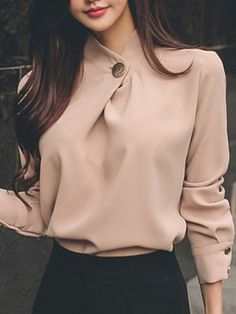 Shop Blouses & Shirts – Pink Chiffon Solid Long Sleeve Stand Collar Blouse onlin… – Design is art Blouse Styles, Blouse Designs, Style Board, Black Women Fashion, Womens Fashion, Collar Blouse, Classy Outfits, Blouses For Women, Ideias Fashion