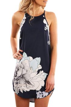Chicloth Black Sleeveless Dress Blooming Peony Print