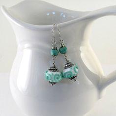 Aqua Lampwork Earrings Handmade Czech Glass by CinLynnBoutique, $18.00