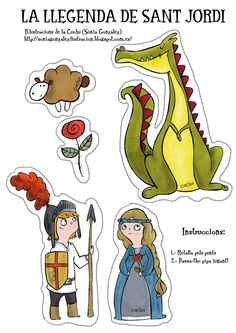 The Legend of Sant Jordi Costume Chevalier, George Kids, Karl Otto, Saint George And The Dragon, St Georges Day, Dragons, Story Stones, Dragon Party, Spanish Activities