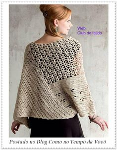 Crochet poncho-style shirt or top. Includes stitch charts and schematics but no written instructions. An experienced needleworker could still suss it out from what is here. Poncho Au Crochet, Crochet Shawls And Wraps, Crochet Cardigan Pattern, Crochet Jacket, Crochet Blouse, Knit Crochet, Crochet Hats, Shawl Patterns, Crochet Patterns