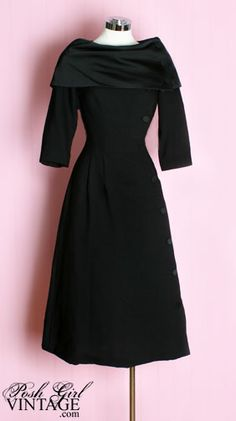 1950s Black Button Dress. Would like with a straight skirt.