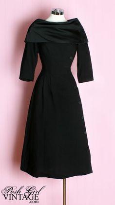 1950's Black Button Dress