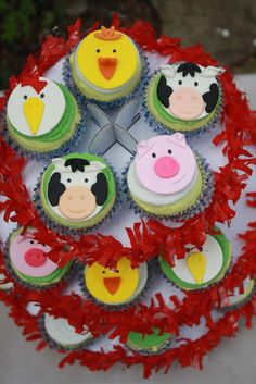 Animales Cupcake Toppers corral Cupcake por Clementinescupcakes