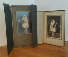 2 Cabinet Photos Original Girl Communion Children Harrison NJ Vintage Photograph