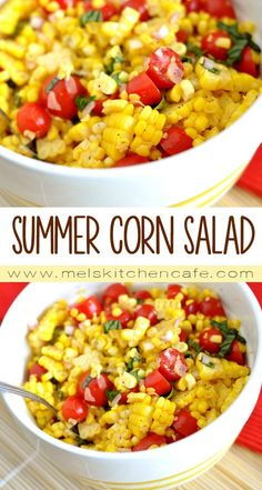This simple summer corn salad is so easy, but completely addicting! How To Cook Brisket, Summer Recipes, Macaroni And Cheese, Grains, Rice, Ethnic Recipes, Food, Mac And Cheese, Eten