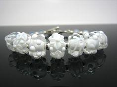 White Lampwork Beads Bracelet