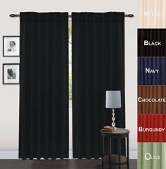 Amazon.com - Blackout, Room Darkening Curtains Window Panel Drapes - (Black Color) 2 Panel Set, 52 inch wide by 84 inch long each panel, 7 Back Loops per Panel, 2 Tie Back Included - By Utopia Bedding -