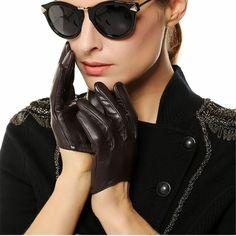 Women Genuine Leather Gloves Ms. Short Paragraph Fashion Half Palm Gloves Lambskin Leather Gloves Tide Performances L098N