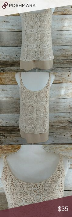 """Cabi It Girl Crochet Lace Double Layer Tank Size M Size Medium Cream Tones Crochet/Lace Double Layer Length is approx 25"""" Armpit to armpit it approx 18"""" CAbi Tops Tank Tops"""
