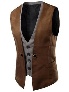 Men Vest 2018 Brand Fashion Fake Two Pieces Waistcoat Classic Slim Groom Suit Vest Business Social Sleeveless Jacket Asian Size Rugged Style, Style Brut, Double Breasted Waistcoat, Mens Suit Vest, Mens Suits, Men's Waistcoat, Suit Jacket, Slim Suit, Herren Outfit