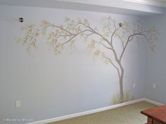 painted trees on walls | cherry blossom tree with birds.jpg - Hand Painted Wall Murals - San ...
