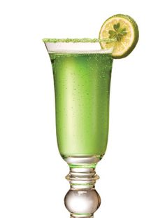 The Irish Kiss    (4 oz. Korbel Champagne  1 oz. Midori melon liqueur)