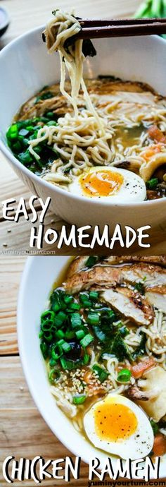 Easy Homemade Chicken Ramen - The simplest homemade ramen you will ever make. I promise! A quick and easy 20 minute recipe for ramen, that's healthier and yummier than the store bought version. Yuminyourtum.com