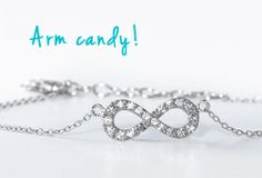 Set in sterling silver and studded with cubic zirconia, this sweet bracelet is not only personal but also spot on trend. Summer Trends, Jewelry Trends, Fashion Watches, Fashion Jewelry, Sterling Silver, Diamond, Bracelets, Gold, Arm