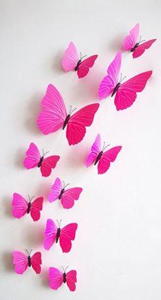 Kleurrijke 3D vlinders roze. Bestel ze eenvoudig en snel in onze webshop www.stickerkamer.nl