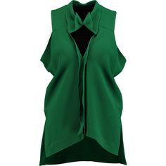 Roland Mouret Rycote cutout ruffled crepe top ($370) ❤ liked on Polyvore featuring tops, green, green top, frill top, flutter top, frilly tops and flounce tops